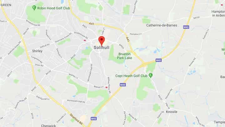 Solihull Gutter Cleaning Map