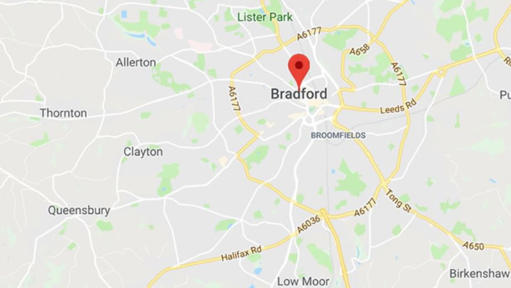 Carpet Cleaning in Bradford Map